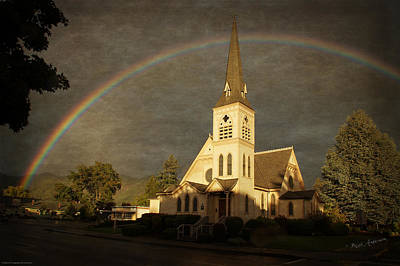 Historic Methodist Church In Rainbow Light Art Print by Mick Anderson