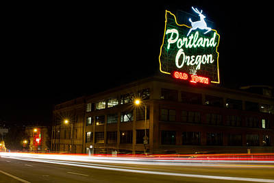 Trail Photograph - Historic Portland Oregon Old Town Sign Light Trails by David Gn