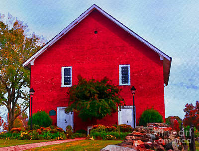 Photograph - Historic Reformed Brick Church - Watercolor by Scott Hervieux