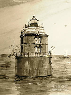 Painting - Historic Sandy Point Light by Nancy Patterson