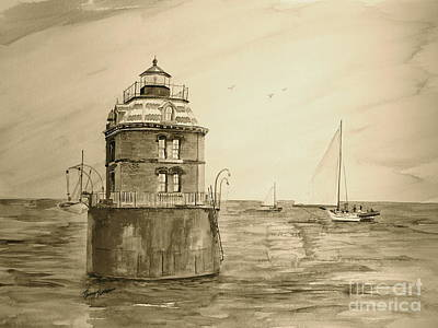 Painting - Historic Sandy Point Lighthouse  by Nancy Patterson