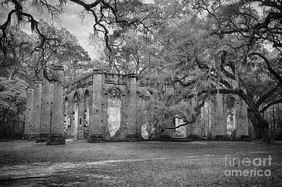Historic Sheldon Church 6 Bw Art Print by Carrie Cranwill