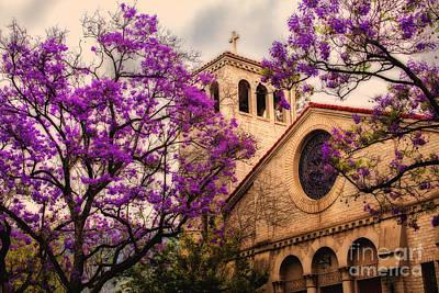 Historic Sierra Madre Congregational Church Among The Purple Jacaranda Trees  Art Print by Jerry Cowart