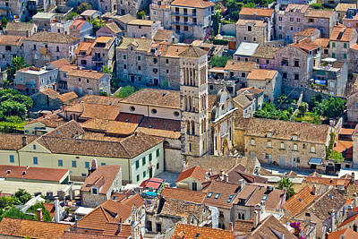 Photograph - Historic Town Of Hvar Aerial View by Brch Photography