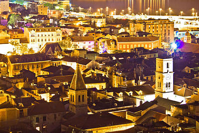 Photograph - Historic Town Of Sibenik Aerial Night View by Brch Photography