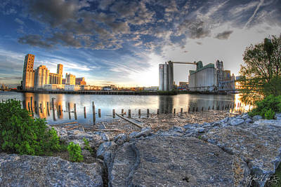 Historic View Of The Grain Elevators And General Mills Art Print by Michael Frank Jr