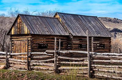 Split Rail Fence Photograph - Historic Wooden Barn - Grafton Ghost Town - Utah by Gary Whitton
