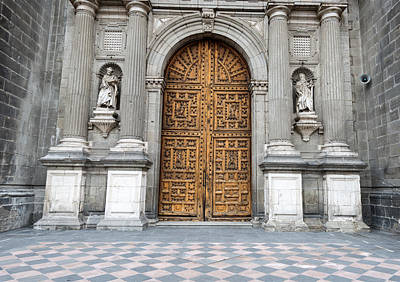 Wild And Wacky Portraits Rights Managed Images - Historic wooden entrance doors to Metropolitan Cathedral in Mexi Royalty-Free Image by Marek Poplawski
