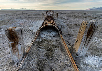 Historic Wooden Stave Pipeline - Great Salt Lake - Utah Art Print by Gary Whitton