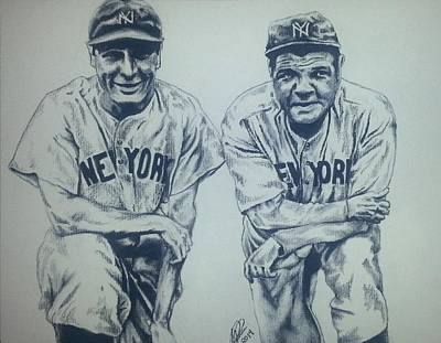 Babe Ruth Drawing - Historical Baseball by Melissa Sink