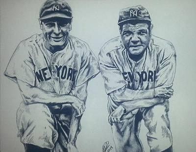 Baseball Portraits Drawing - Historical Baseball by Melissa Sink
