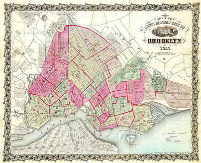 Whimsical Flowers Royalty Free Images - Historical Map of Brooklyn New York Royalty-Free Image by Celestial Images