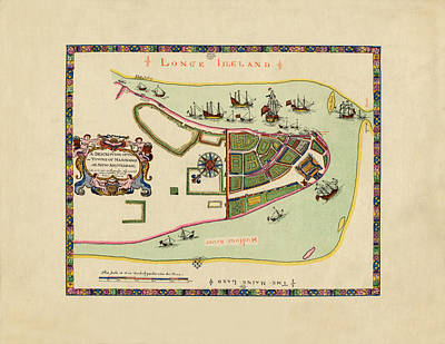 Nirvana - Historical Map of Manhattan 1661 by Andrew Fare