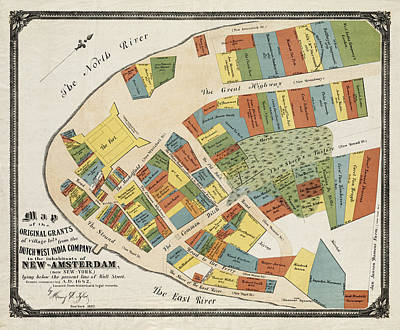 Vintage Map Photograph - Historical Map Of Manhattan by Andrew Fare