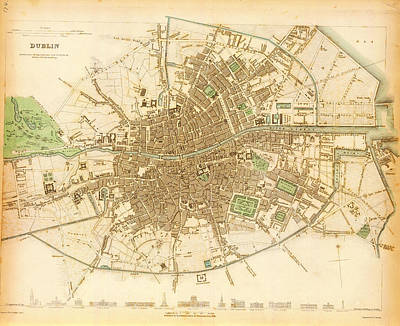 Nobody Painting - Historical Maps Of Dublin by Celestial Images