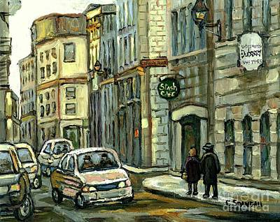 Streetscenes Painting - Historical Old Montreal Landmark Paintings Stash's Cafe Celebrate Montreal 375 Quebec Art C Spandau by Carole Spandau