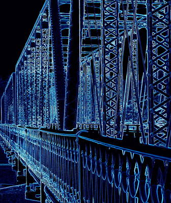 Long Street Digital Art - Historical Sixth Street Bridge Grand Rapids Michigan by Rosemarie E Seppala