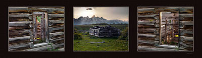 Old Log Cabin Photograph - Historical Taylor Cabin Triptych by Leland D Howard