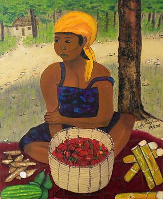 Taino Painting - History Behind Caribbean Food Produces by Nicole Jean-Louis