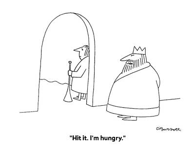 Hit It. I'm Hungry Art Print by Charles Barsotti