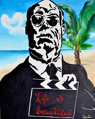 Hitchcock Film Painting - Hitchcock In Paradise by Celina Frisson