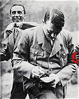 Hitler And Goebbels  As The German Chancellor Signs An Autograph  Art Print