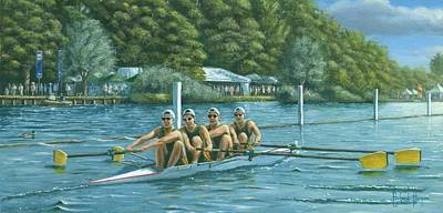 Rowing Painting - Hitting The Pain Barrier by Richard Harpum