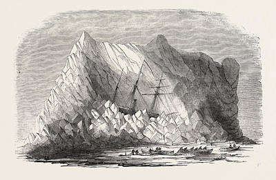 Arctic Drawing - H.m. Arctic Steam Vessel Intrepid Driven Forty Feet Up An by English School