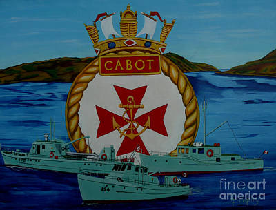 Cabot Painting - Hmcs Cabot Unit Tenders by Anthony Dunphy