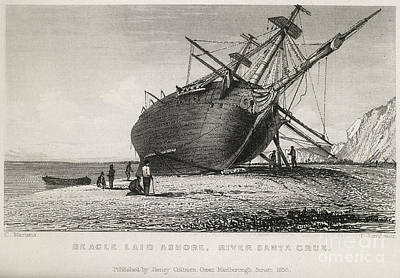 Human Worms Photograph - Hms Beagle Laid Ashore, River Santa by British Library
