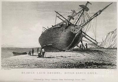 Hms Beagle Laid Ashore, River Santa Art Print