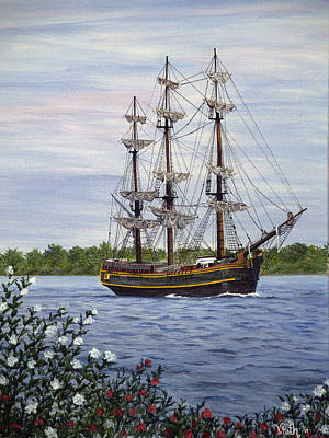 Tall Ships. Pirates Ships Painting - Hms Bounty by Vicky Path