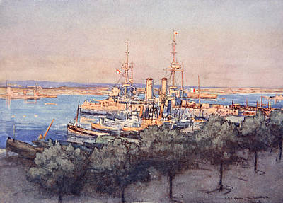 Dock Drawing - H.m.s. Queen, Trawlers And Drifters by Donald Maxwell