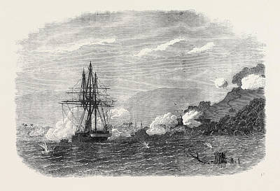 H.m.s. Rinaldo Bombarding Salangore In The Strait Print by English School