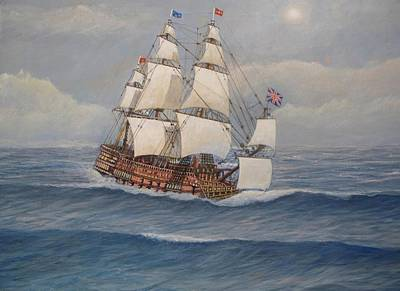Tall Ships. Marine Art Painting - Hms Royal Sovereign by William H RaVell III
