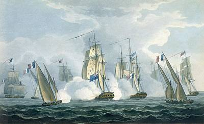 Row Boat Drawing - Hms Sirius, Captain Rowse Engaging by Thomas Whitcombe