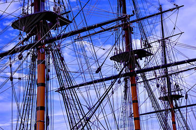 Ships Mast Photograph - Hms Surprise Rigging by Garry Gay