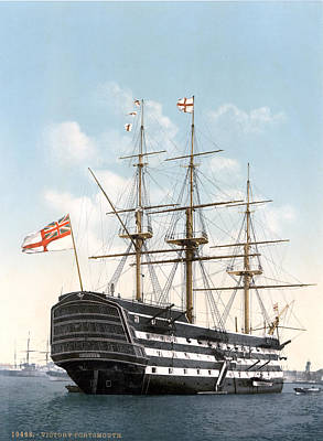 Hms Victory Painting - Hms Victory In Portsmouth 1900 by Celestial Images