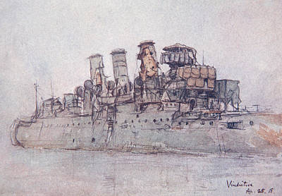 Wwi Drawing - Hms Vindictive by Donald Maxwell