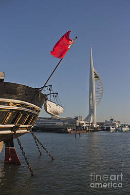 Photograph - Hms Warrior And The Spinnaker Tower by Terri Waters