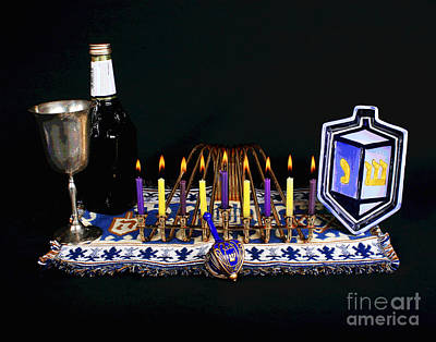 Photograph - Hnaukah Candle Lights by Larry Oskin