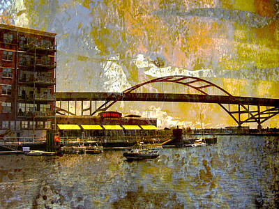 Digital Art - Hoan Bridge And Abstract Painting by Anita Burgermeister