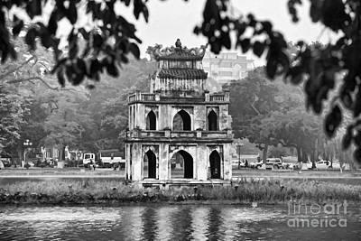 Kiem Photograph - Hoan Kiem Lake Bw by Chuck Kuhn