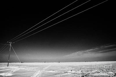 Hoar Frost Covered Electricity Transmission Lines Snow Covered Prairie Agricultural Farming Land Wit Art Print by Joe Fox