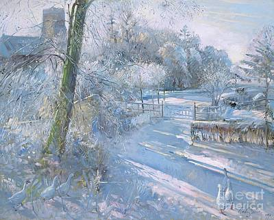 Gaggle Painting - Hoar Frost Morning by Timothy  Easton