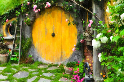 Wooden Stairs Painting - Hobbiton New Zealand by Lanjee Chee