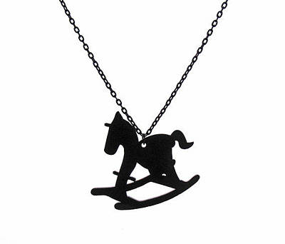 Perspex Necklace Jewelry - Hobby Horse Pendant With Long Chain by Rony Bank