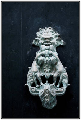 Photograph - hobgoblin in the door knocker of a Mahon streen in Menorca - Call if you're valiant enough by Pedro Cardona