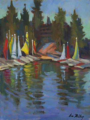 Painting - Hobie Cats At Lake Arrowhead by Diane McClary