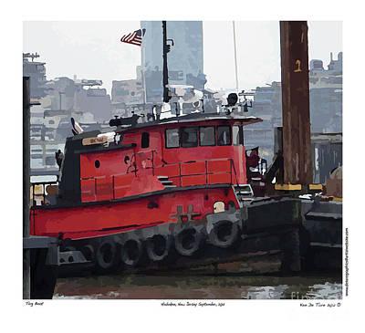 Boating Digital Art - Hoboken Tug Boat  by Kenneth De Tore